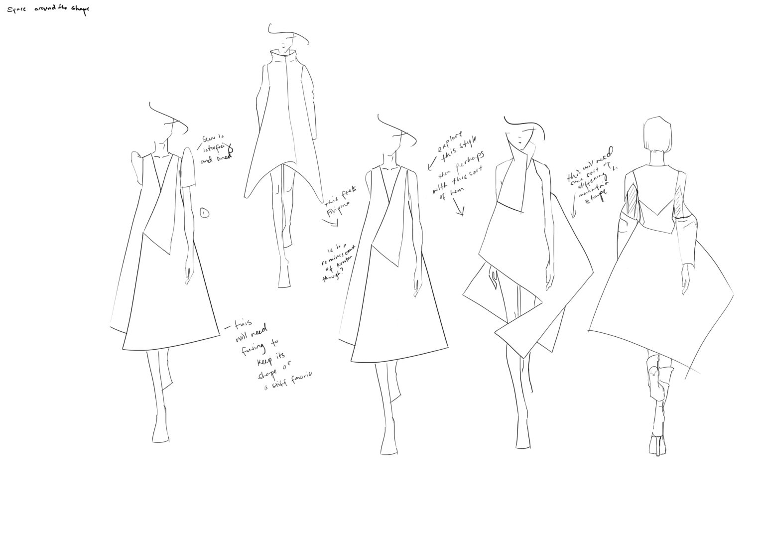 Draft 3. Exploring the triangle shape through the space around the body and incorporating the terno sleeve