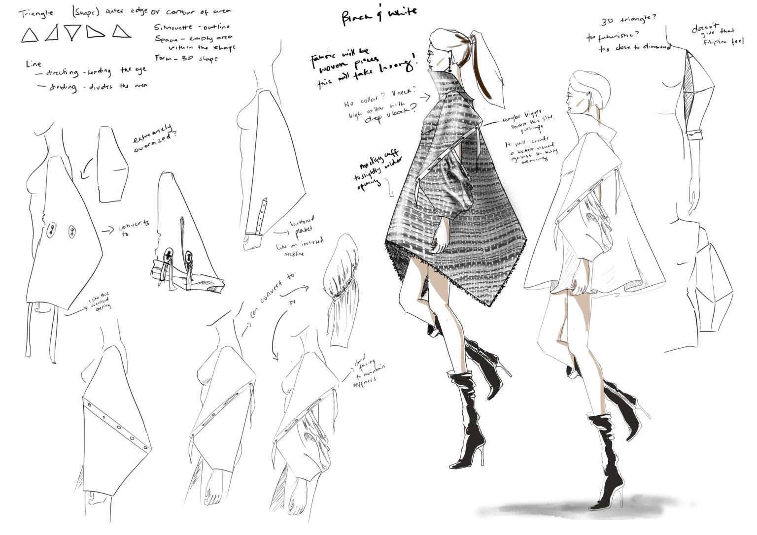 Draft 4. Exploring triangle shape through volume and detailed sleeves